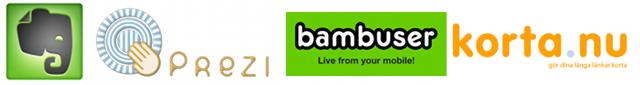 loggor för evernote prezi bambuser och kortanu