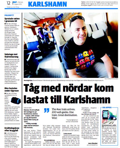 skärmdump av sidan 12 i BLT 17/8 rubriken lyder Tåg med nördar kom lastat till Karlshamn
