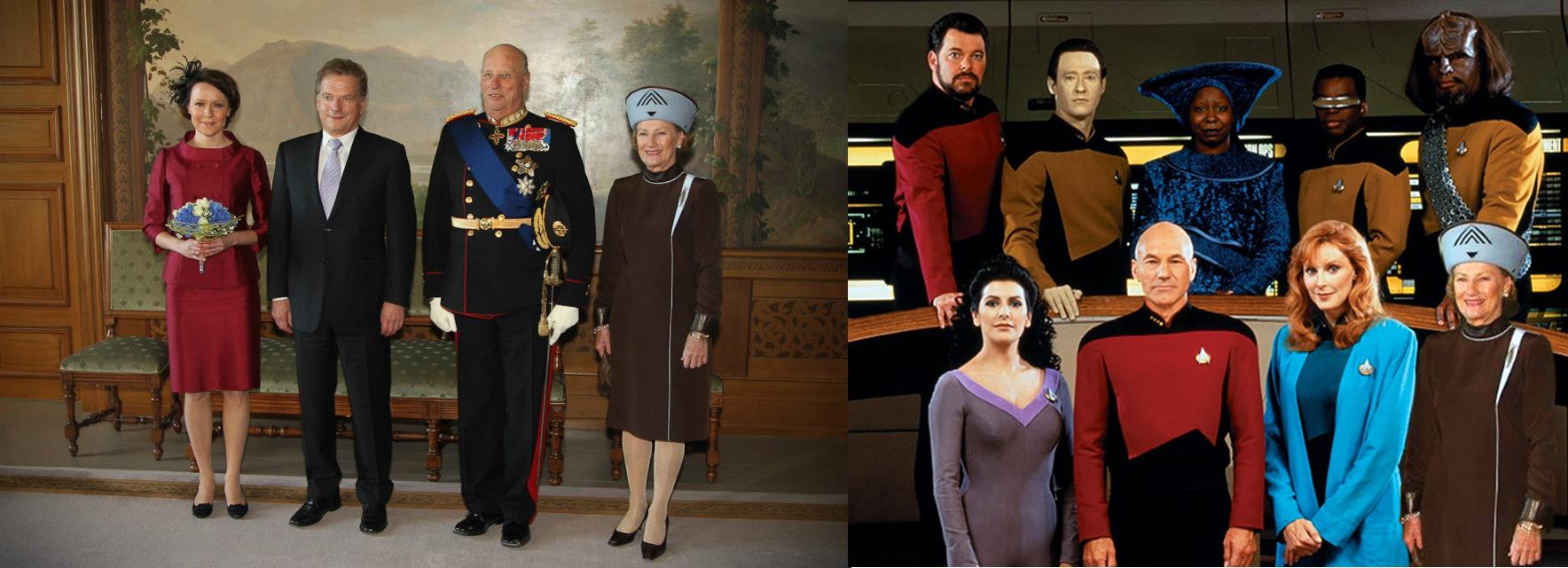 en bild med finska presidentparet och norska kungaparet och en annan bild med drottningen inklippt i en bild på besättningen från Star Trek The next generation