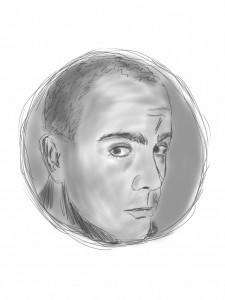 tecknat självporträtt