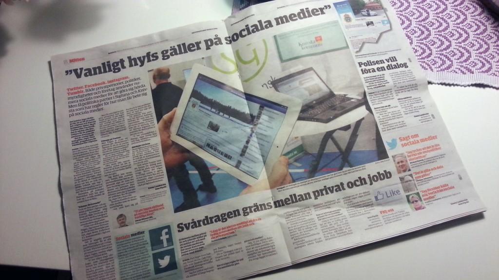 tidningsuppslag med stor bild på min ipad