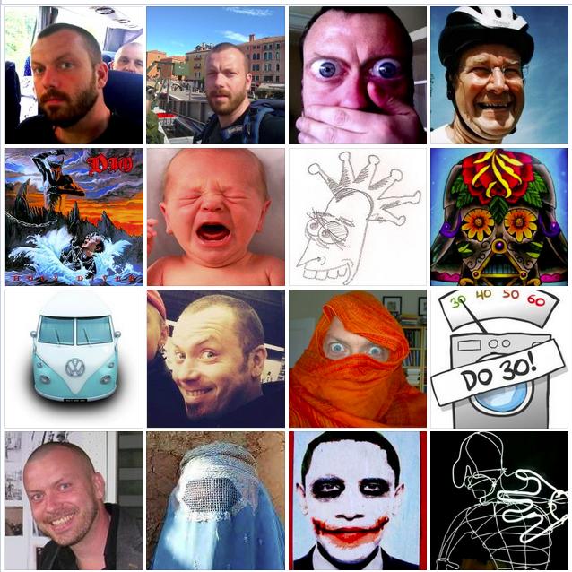 Ett urval av Anders Colding Jörgensens profilbilder på Facebook