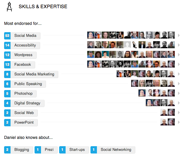 Skärmdump av mina Skills and expertise på min LinkedIn-profil