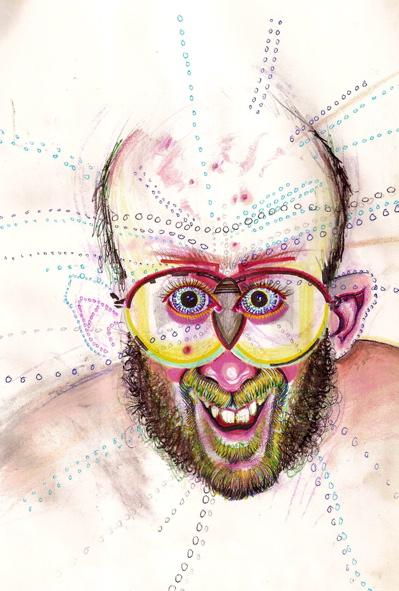 tecknat självporträtt med mycket färger