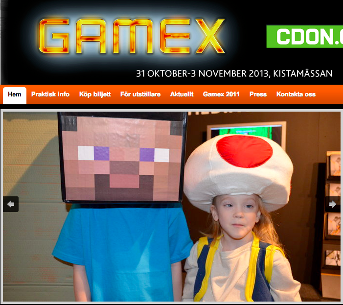 barnen utklädda till Stevie från Minecraft och Toad från Supermario