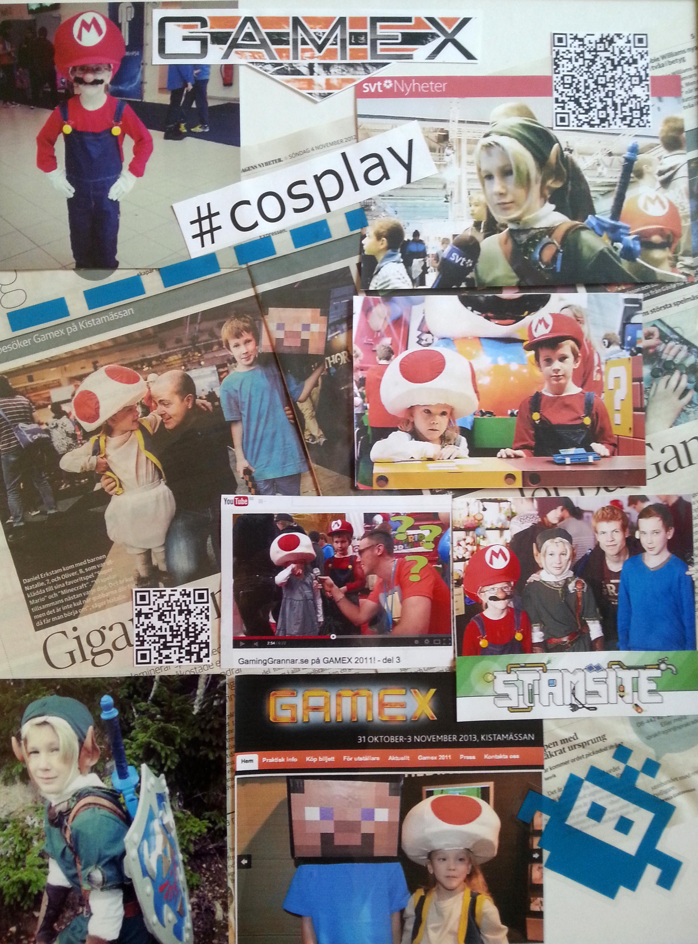 Kollage med våra tre år på Gamex med olika Cosplay-dräkter varje år.  Testa qr-koderna som leder till nyhetsinslag på SVT och en videoblogg där barnen är med.